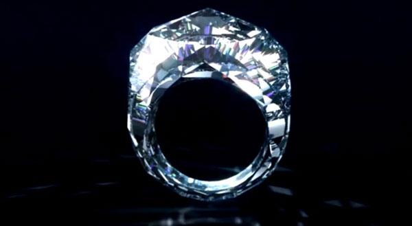 The world's first all-diamond ring dwarfs Kim Kardashian's and Elizabeth Taylor's famed diamonds.