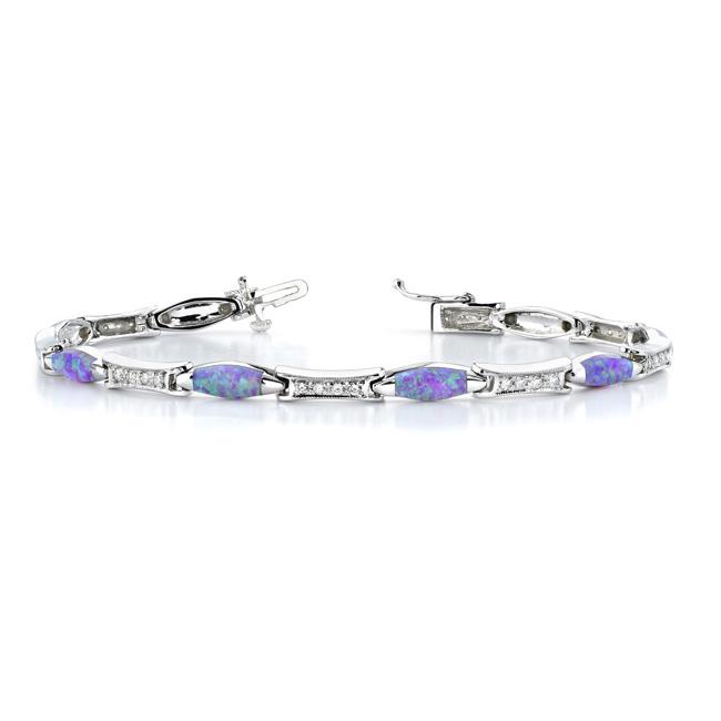 Diamond Bracelet With Pink Opal - 6233B