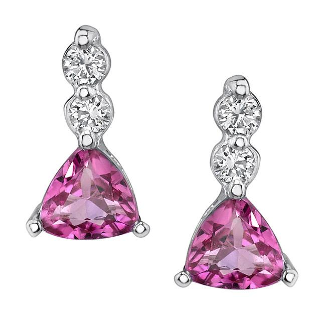 Trillion Cut Pink Tourmaline Earrings 5380ER