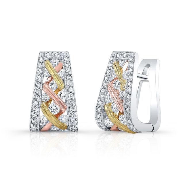 Three Tone Diamond Earrings 6780ERT