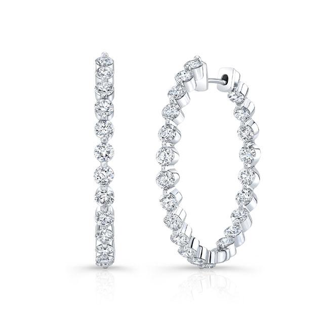 White Gold Diamond Hoop Earrings 8183ER