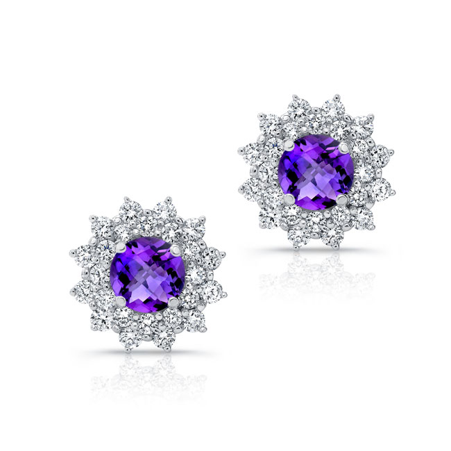 1.00ct. Double Halo Amethyst Studs