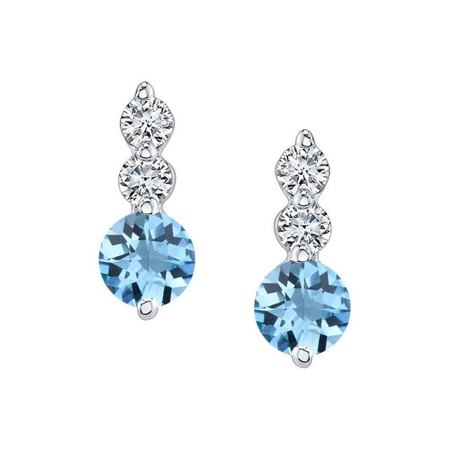 White Gold Aquamarine & Diamond Earrings AQ-5593ER