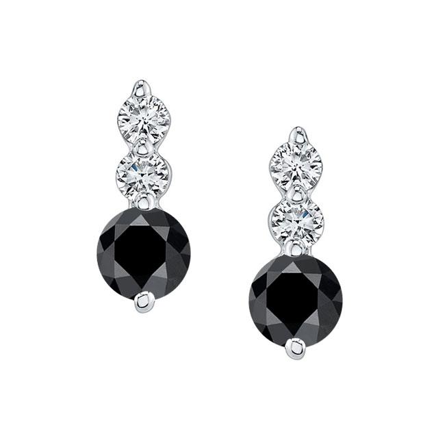 White Gold Black Diamond Earrings BK-5593ER