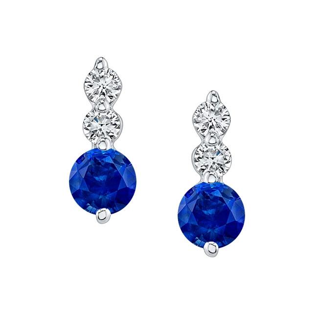 White Gold Blue Sapphire & Diamond Earrings BS-5593ER