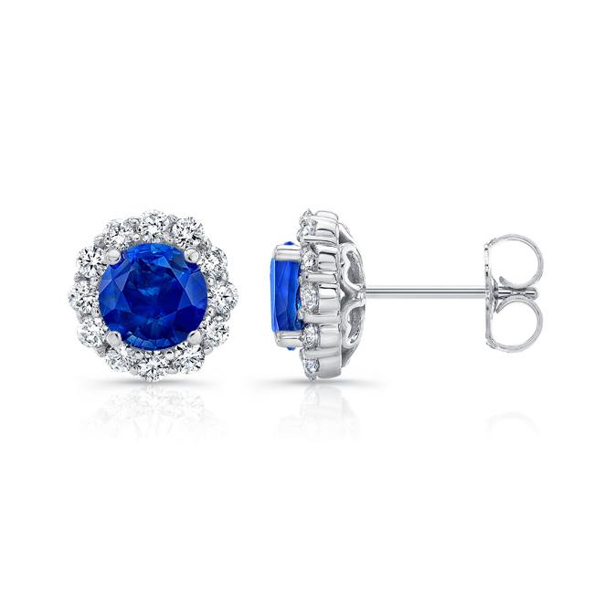 1.00ct. Blue Sapphire Halo Studs Image 2