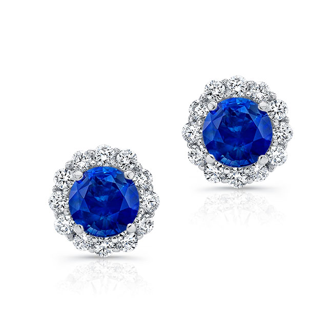 1.00ct. Blue Sapphire Halo Studs