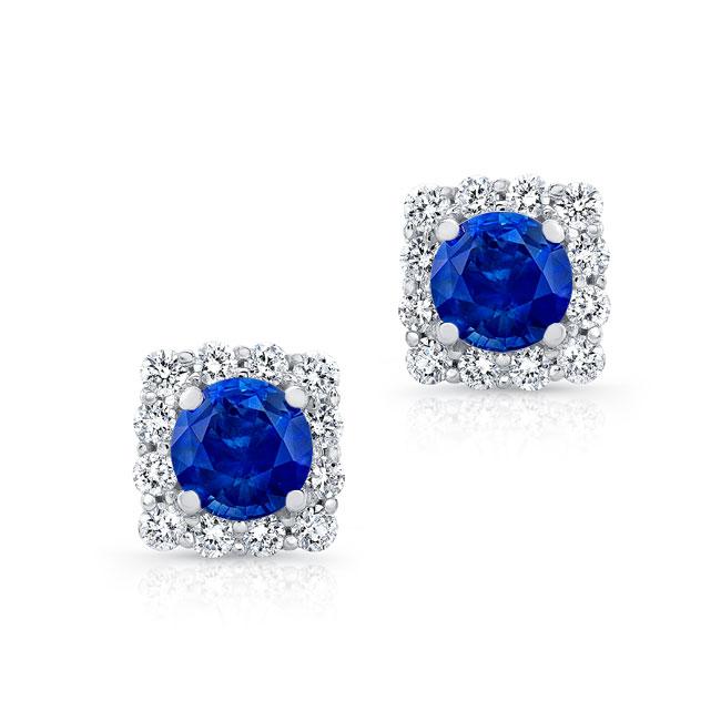 1.00ct. Cushion Blue Sapphire Halo Studs
