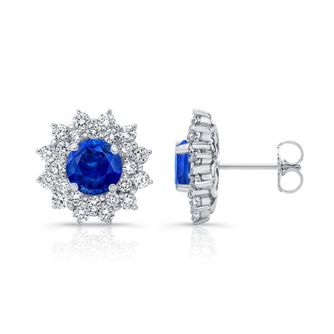1.00ct. Double Halo Blue Sapphire Studs Image 2