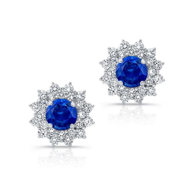 1.00ct. Double Halo Blue Sapphire Studs