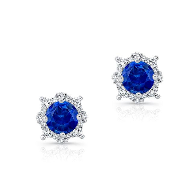 1.00ct. Unique Halo Blue Sapphire Studs