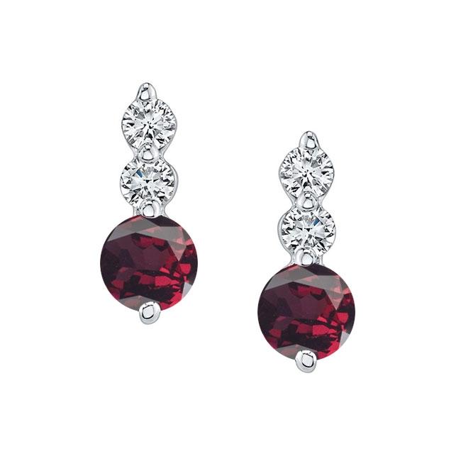White Gold Garnet & Diamond Earrings GR-5593ER