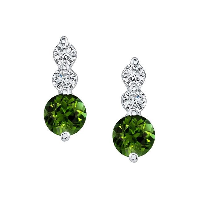White Gold Green Tourmaline & Diamond Earrings GT-5593ER