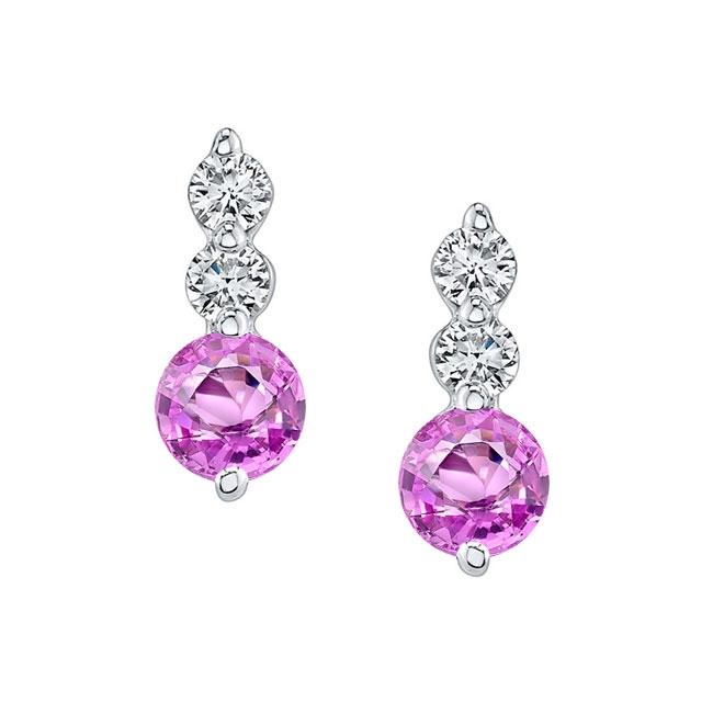 White Gold Pink Sapphire & Diamond Earrings PS-5593ER