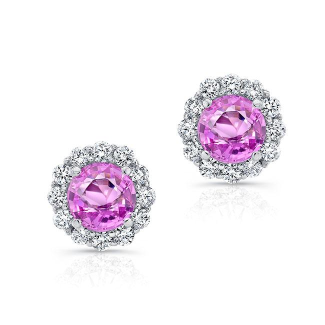 1.00ct. Pink Sapphire Halo Studs