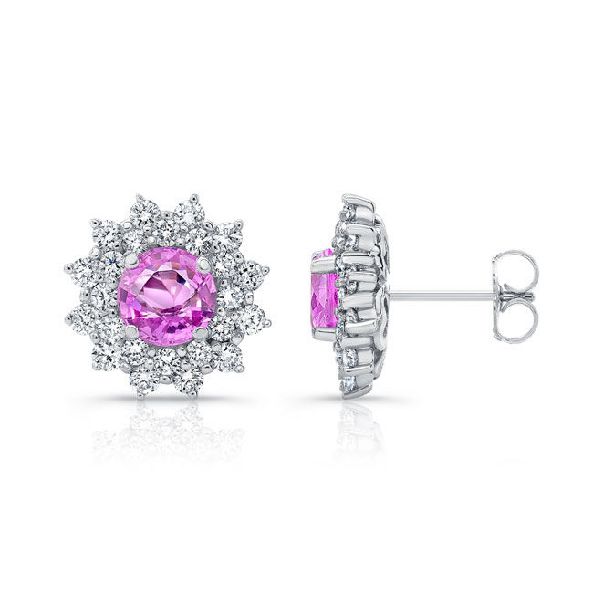 1.00ct. Double Halo Pink Sapphire Studs Image 2