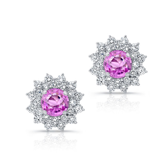 1.00ct. Double Halo Pink Sapphire Studs
