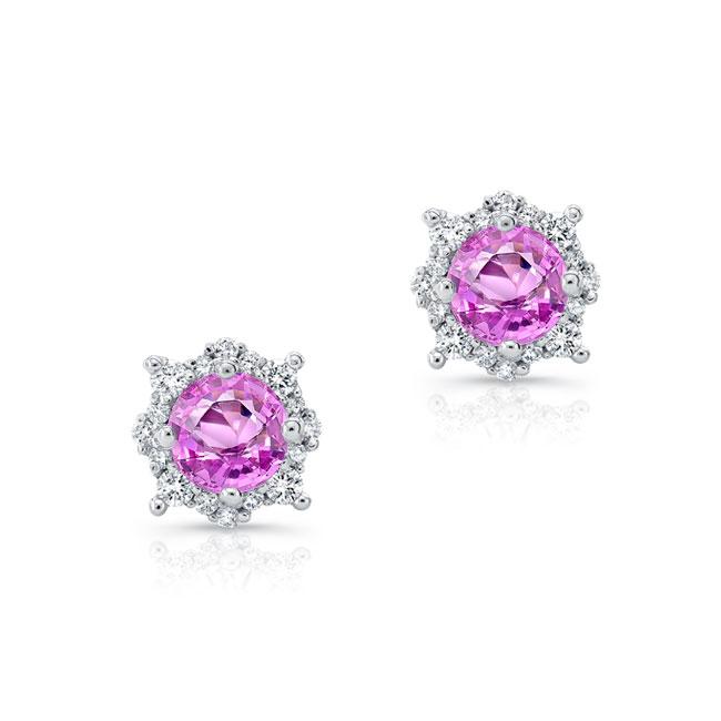 1.00ct. Unique Halo Pink Sapphire Studs