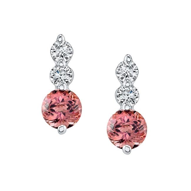 White Gold Pink Tourmaline & Diamond Earrings PT-5593ER