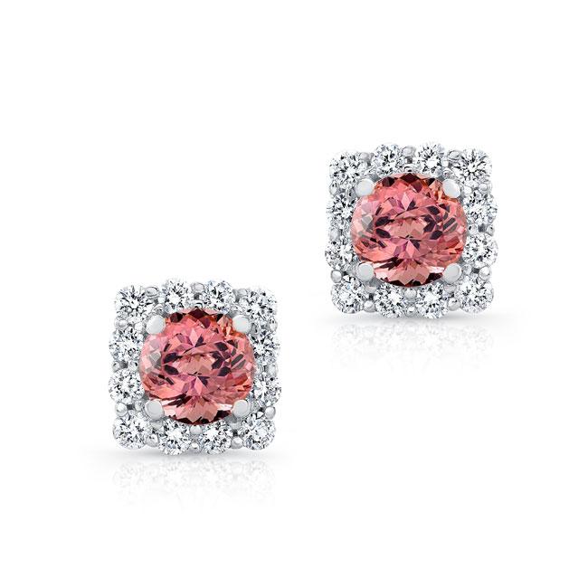 1.00ct. Cushion Pink Tourmaline Halo Studs Image 1
