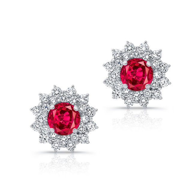 1.00ct. Double Halo Ruby Studs