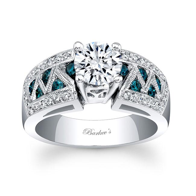 Moissanite and Blue Diamond Engagement Ring MOI-6620LBD