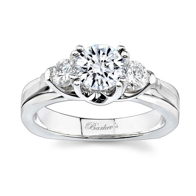 3 Stone White Gold Moissanite Engagement Ring MOI-6713L Image 1