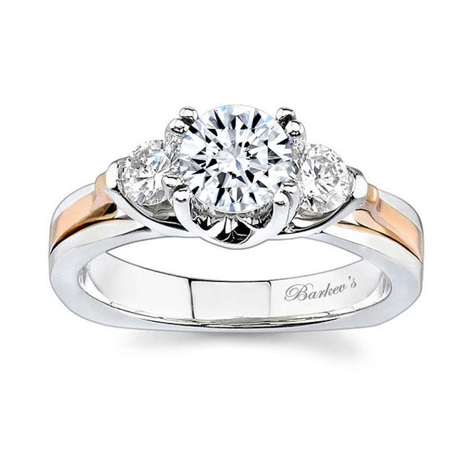 3 Stone White Gold Moissanite Engagement Ring MOI-6713L