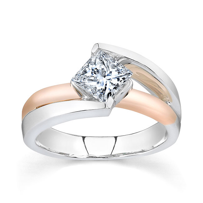Princess Cut Moissanite Solitaire engagement Ring MOI-7087L