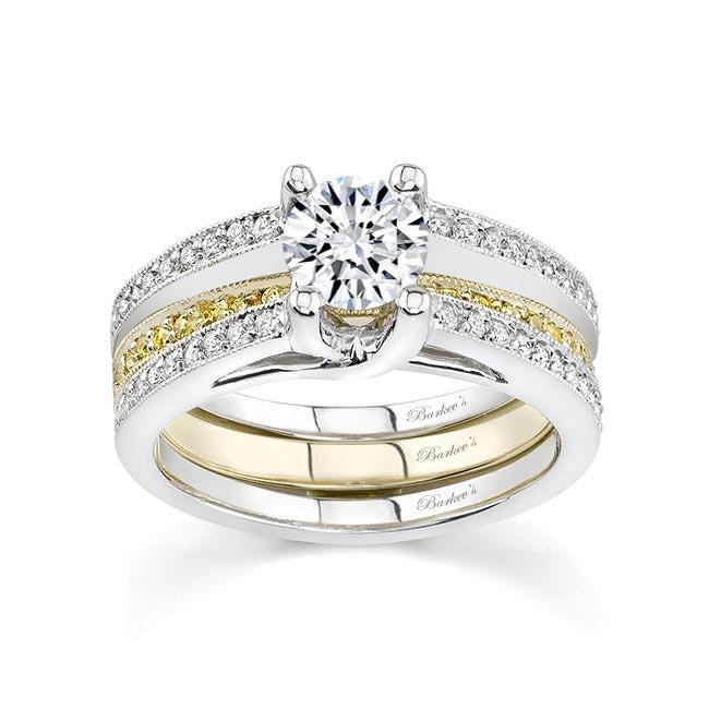 Two tone Bridal set with white & yellow diamonds 7102SYD Image 1