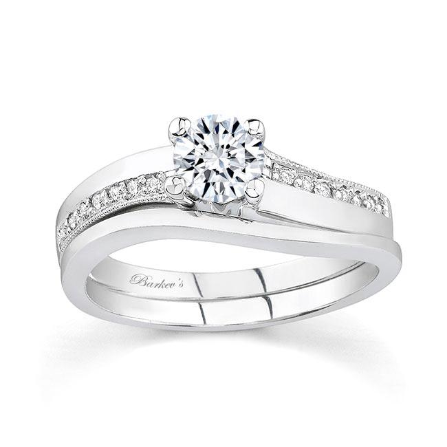 White gold diamond engagement ring set 7112S