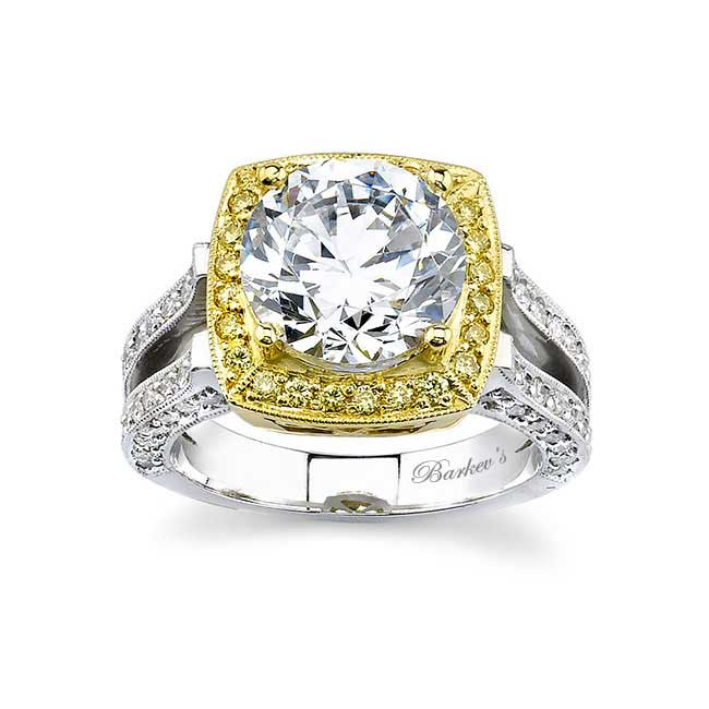 Two Tone Halo Engagement Ring 7118LYD