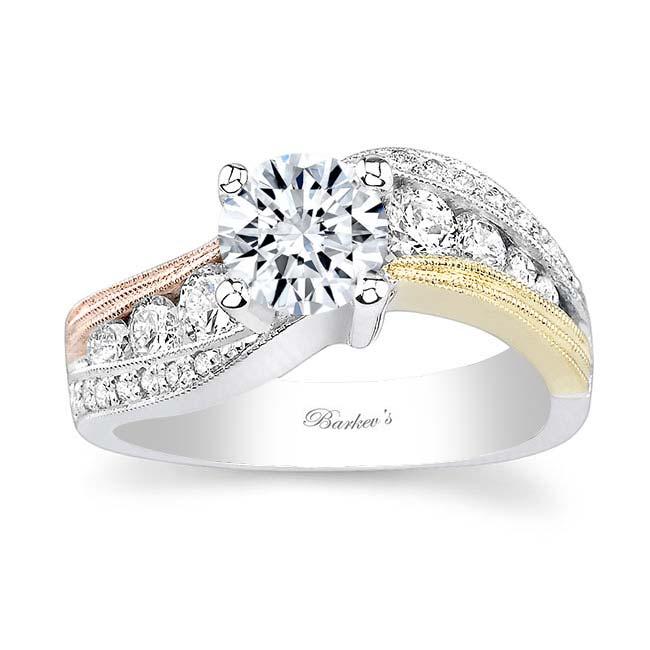 Tri Color Moissanite Engagement Ring MOI-7119L Image 1