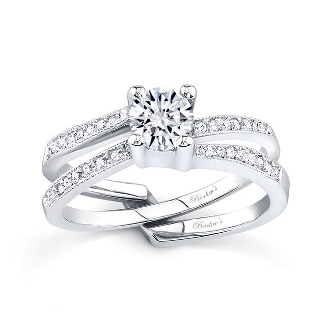 White gold diamond engagement ring set 7142S