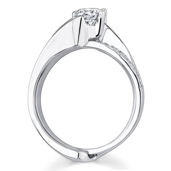 Moissanite and Diamond engagement ring set MOI-7345S Image 2