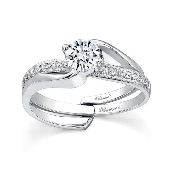 Moissanite and Diamond engagement ring set MOI-7345S Image 1