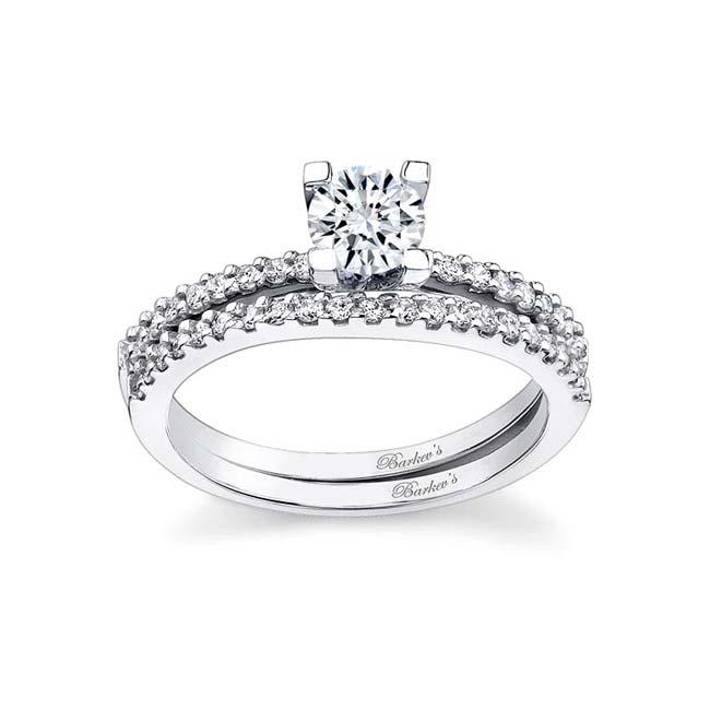 White gold moissanite engagement ring set MOI-7356S