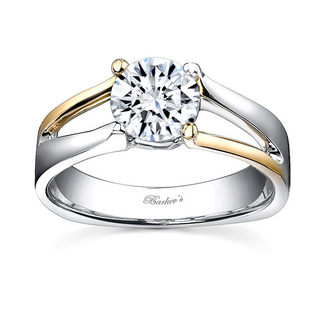 White & yellow gold solitaire ring 7532L