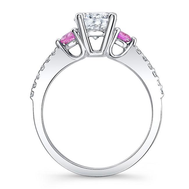 3 Stone Pink Sapphire Moissanite Ring Image 2