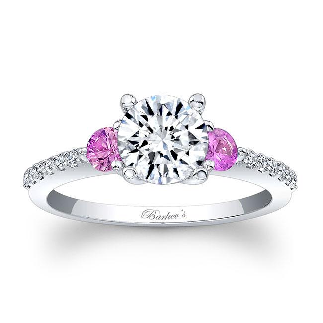 3 Stone Pink Sapphire Moissanite Ring