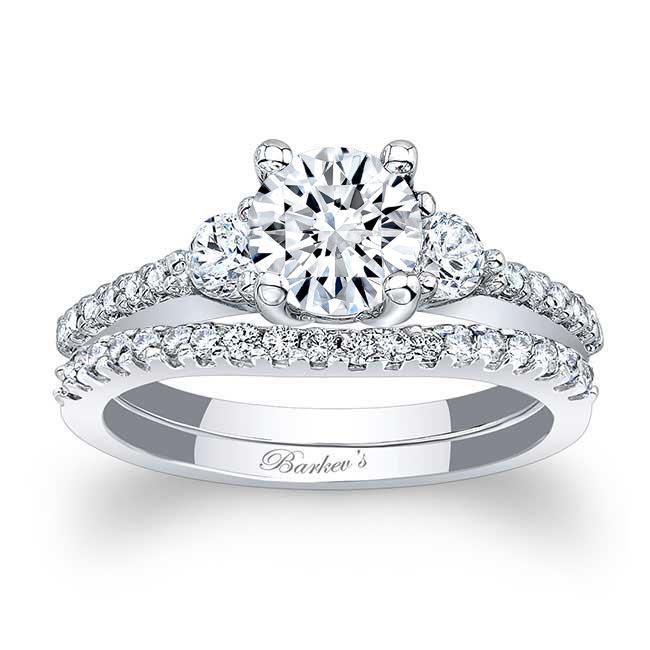 3 Stone Moissanite Wedding Ring Set