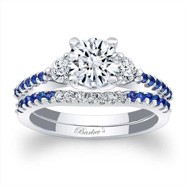 3 Stone Sapphire Wedding Set