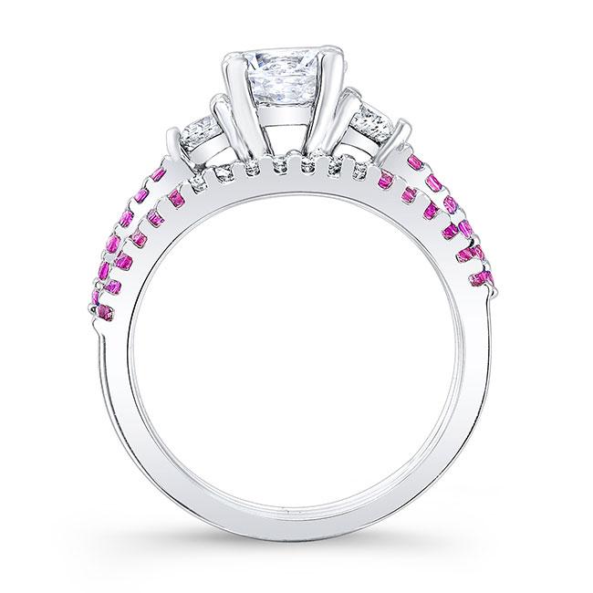 3 Stone Pink Sapphire Wedding Set Image 2