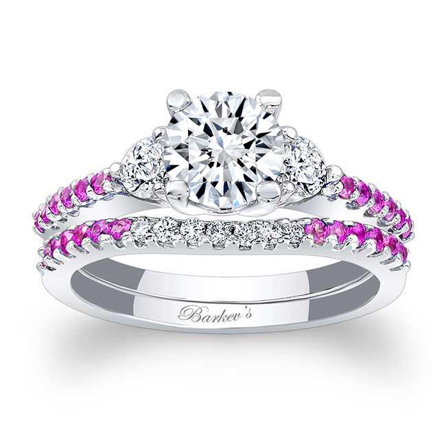 3 Stone Pink Sapphire Wedding Set
