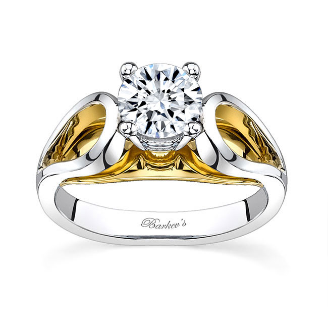 Two tone solitaire engagement ring 7607L