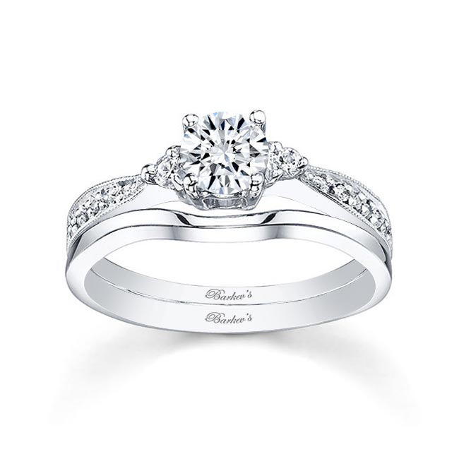 White gold diamond engagement ring set 7648S