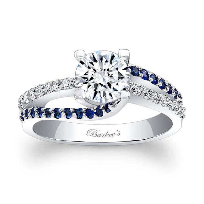 Engagement Ring With Blue Sapphires 7677LBS Image 1