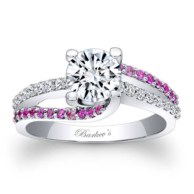 Moissanite Engagement Ring With Pink Sapphires MOI-7677LPS