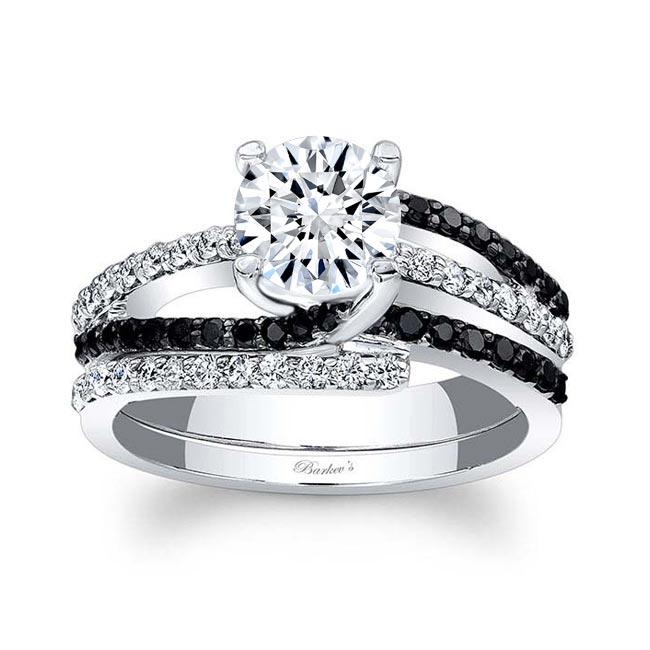 Moissanite Bridal Set With Black Diamonds MOI-7677SBK