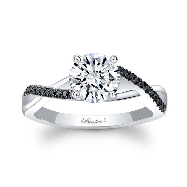 Gold Moissanite Black Diamond Accent Ring